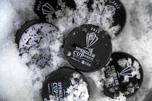 DAVOS/SWITZERLAND, 26DEZ12 - Die Pucks liegen bereit fuer das Eroeffnungsspiel des 86. Spengler Cup in Davos, 26. Dezember 2012.    Impression of the 86th Spengler Cup tournament in Davos, Switzerland, December 26, 2012.    swiss-image.ch/Photo Andy Mettler